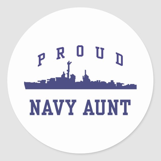 Navy Aunt Round Sticker
