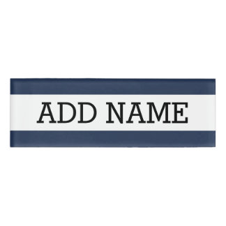 Navy Background with Custom Name Name Tag