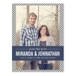 Navy Banner Photo Save The Date Post Cards