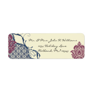 Navy & Berry Berry Elegant Damask Peacock Wedding