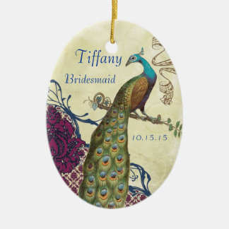 Navy & Berry Berry Elegant Damask Peacock Wedding Christmas Ornament