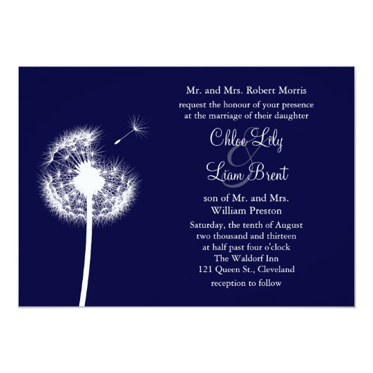 Navy Best Wishes! Wedding Invitation