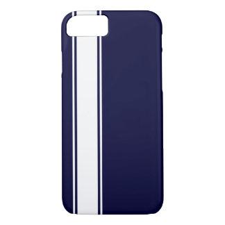 Navy Blu & White Team Jersey Stripe iPhone 7 Case