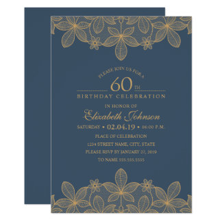 Navy Blue 60th Birthday Party Unique Golden Lace Card