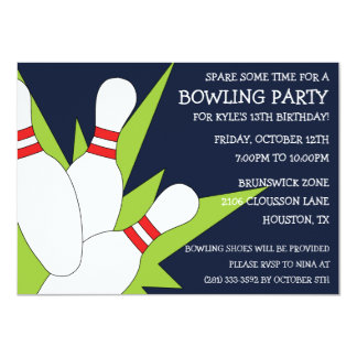 Navy Blue 7-10 Split Bowling Birthday Party Card