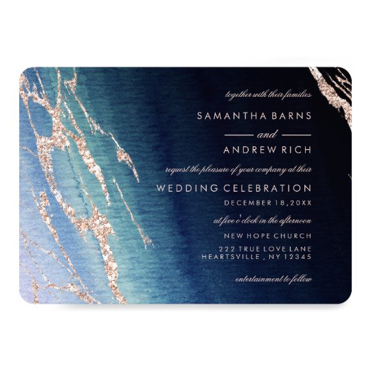 Navy Blue Agate & Rose Gold Wedding Invitations
