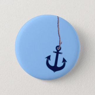 navy blue anchor 6 cm round badge