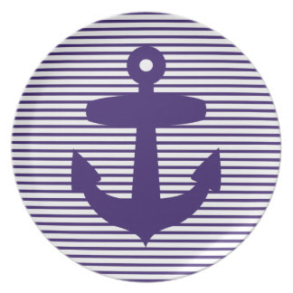 Navy Blue Anchor and Sailor Stripes Plate