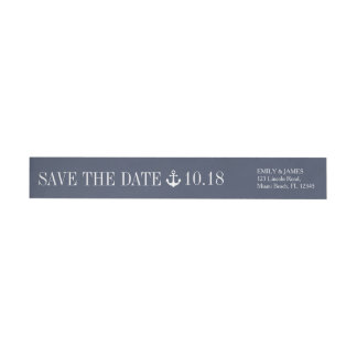 Navy Blue Anchor By The Sea Save The Date Wrap Around Label