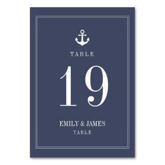 Navy Blue Anchor By The Sea Wedding Table Numbers