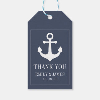 Navy Blue Anchor By The Sea Wedding Thank You Gift Tags