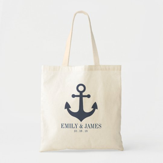 Navy Blue Anchor By The Sea Wedding Tote
