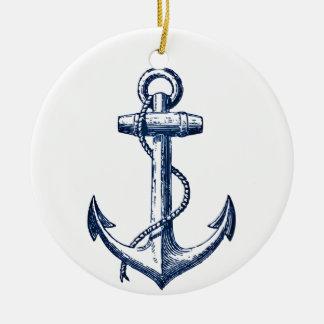 Navy Blue Anchor Christmas Ornament