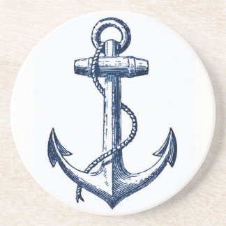 Navy Blue Anchor Coaster
