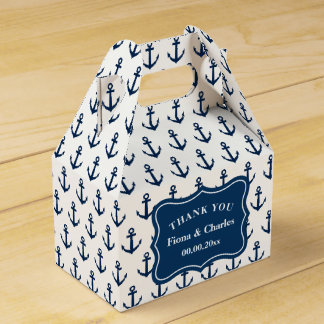 Navy blue anchor custom nautical wedding party party favour boxes