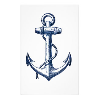 Navy Blue Anchor Customized Stationery