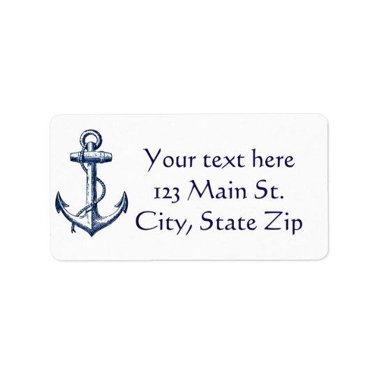 Navy Blue Anchor Label