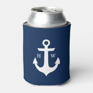 Navy Blue Anchor Monogrammed Can Cooler