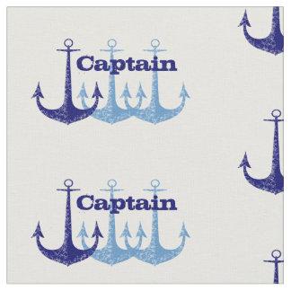 Navy blue anchor nautical monogram fabric
