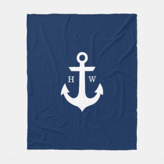Navy Blue Anchor Nautical Monogram Fleece Blanket