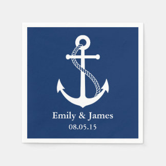 Navy Blue Anchor Nautical Wedding Disposable Napkin
