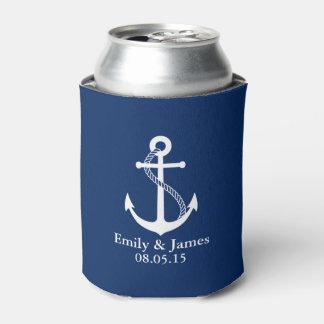Navy Blue Anchor Nautical Wedding Favor Can Cooler