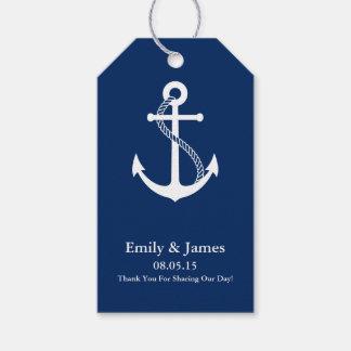 Navy Blue Anchor Nautical Wedding Favor Gift Tags