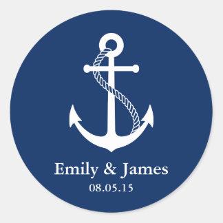 Navy Blue Anchor Nautical Wedding Favor Round Sticker