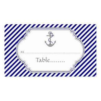 Navy blue anchor nautical wedding place card pack of standard business cards