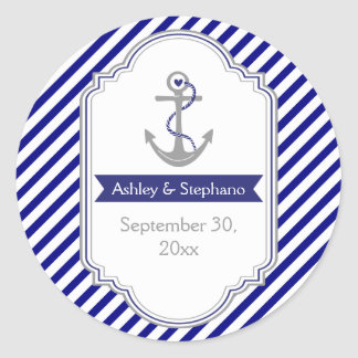 Navy blue anchor nautical wedding Save the Date Classic Round Sticker