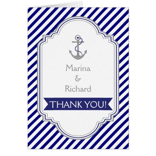 Navy blue anchor nautical wedding Thank You Card