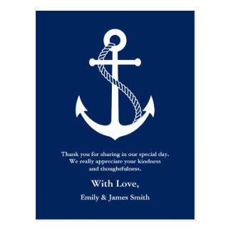 Navy Blue Anchor Nautical Wedding Thank You Postcard