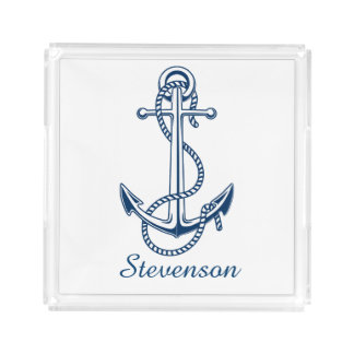 Navy blue anchor personalized acrylic serving tray