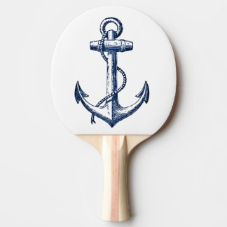 Navy Blue Anchor Ping Pong Paddle