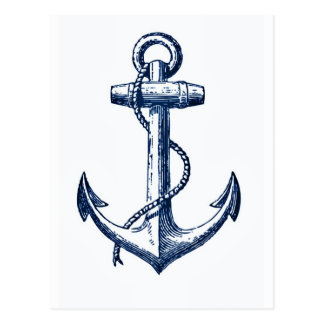 Navy Blue Anchor Postcard