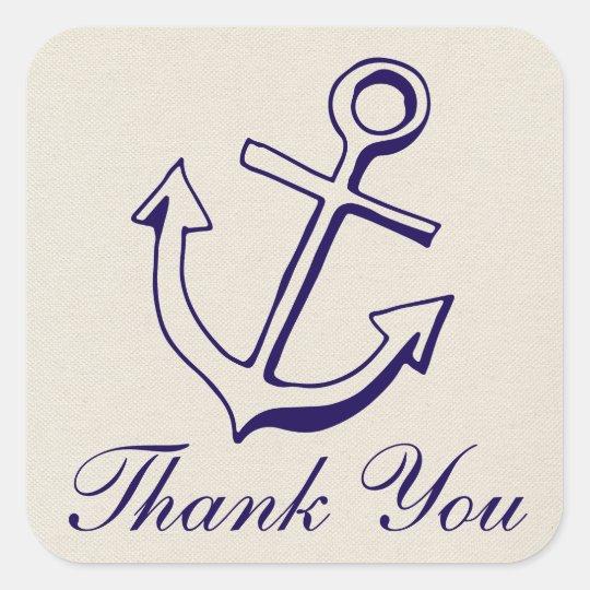 Navy Blue Anchor Tan Thank You Nautical Wedding