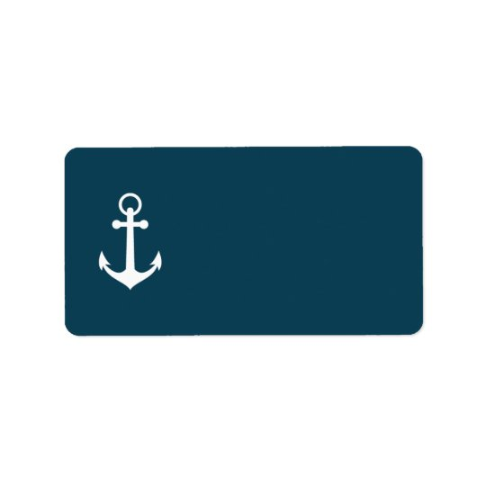 Navy Blue Anchor Wedding Mailing Address Label