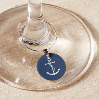 Navy Blue Anchor Wine Charms