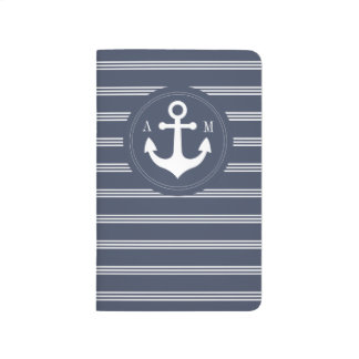 Navy Blue Anchor with White Stripes Monogram Journal
