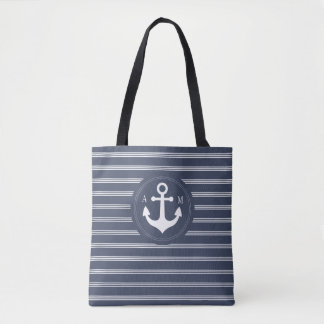 Navy Blue Anchor with White Stripes Monogram Tote Bag