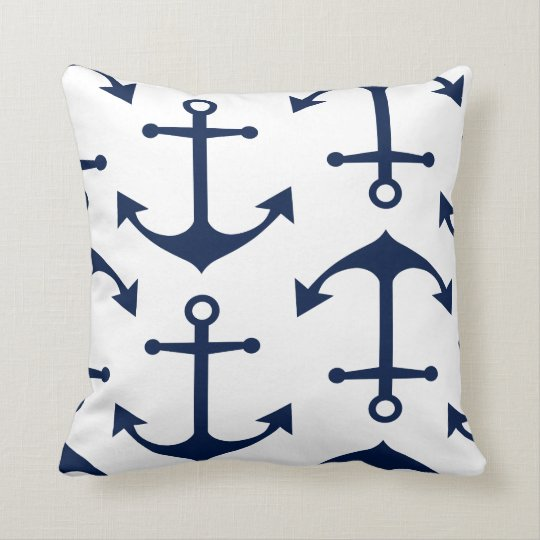 Navy Blue Anchors on White Nautical Throw Pillow