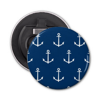Navy Blue Anchors Pattern 1 Bottle Opener