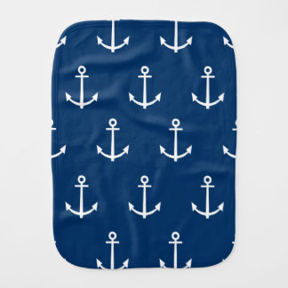 Navy Blue Anchors Pattern 1 Burp Cloth