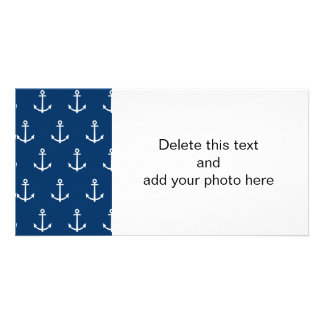 Navy Blue Anchors Pattern 1 Picture Card