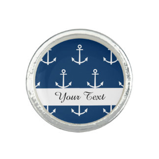 Navy Blue Anchors Pattern 1 Photo Rings
