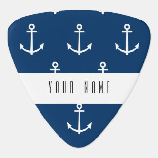 Navy Blue Anchors Pattern 1 Plectrum