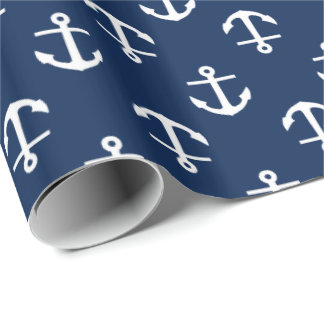 Navy Blue Anchors Pattern Wrapping Paper