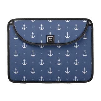 Navy Blue Anchors Sleeve For MacBooks