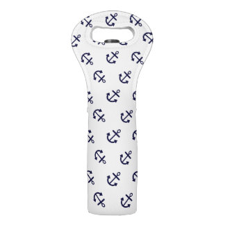 Navy Blue Anchors White Background Pattern Wine Bag