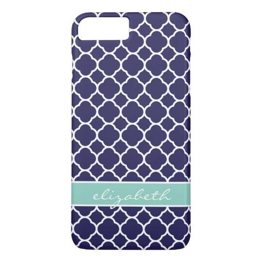 Navy Blue and Aqua Quatrefoil Custom Monogram iPhone 8 Plus/7 Plus Case
